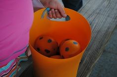 Dinosaur Eggs aka oranges that I painted for my son's dinosaur, first bday party!