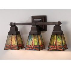 """Meyda Tiffany 48036 Stained Glass / Tiffany 3 Light 20"""" Wide Bathroom Fixture from the Prairie Dragonfly Collection Image"""