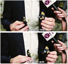 Tom Hiddleston playing with Loki and Thor figures.