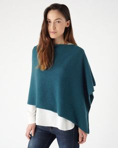 Jigsaw Knitted Asymmetric Poncho in Teal, £79.