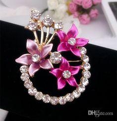 Mädchen Emaille Blumen Brosche Pins Hochzeit Strass Brosche Sortierte Farben X 051 Von Lemeilleur