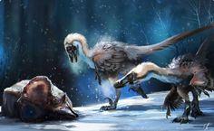 Ramon Acedo's interpretation of a famous dinosaur fossil finding: velociraptor and protoceratops. Prehistoric Wildlife, Prehistoric Creatures, Dinosaur Fossils, Dinosaur Art, Feathered Dinosaurs, Jurassic Park World, Extinct Animals, Fauna, Creature Design