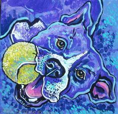 Pit Bull with ball  painted Ceramic Tile   12 x 12 inches  by Dawn Tarr