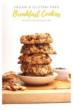 Start your day off with these superfood-packed gluten free vegan breakfast cookies. Made in just 30 minutes for a breakfast or snack that will fuel you up all morning long. (use flaxseed egg, chia seeds or egg replacer) Vegan Gluten Free Breakfast, Gluten Free Breakfasts, Vegan Breakfast Recipes, Snack Recipes, Breakfast Ideas, Breakfast Nook, Baking Recipes, Vegan Sweets, Vegan Snacks
