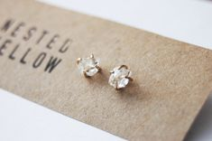 89mm Herkimer Diamond and Gold Filled stud by NestedYellow on Etsy, $95.00