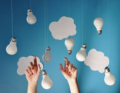 clouds and lightbulbs