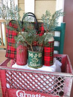 Coffe csn and thermoses, vintage Christmas decor. (The Gluten Free Pastor's Wife: Christmas in Full Vintage Swing) Christmas Booth, Tartan Christmas, Christmas Love, Country Christmas, Vintage Christmas, Christmas Holidays, Outdoor Christmas, Christmas Trees, Christmas Heaven