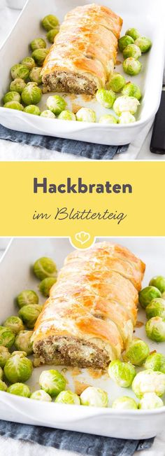 Schichtarbeit: Gefüllter Hackbraten im Blätterteig This meatloaf leaves its delicious secrets layer after layer: crispy dough, juicy minced meat and finally creamy cream cheese Food For Pregnant Women, Meat Recipes, Cooking Recipes, Meat Loaf, Food Design, Food Inspiration, Love Food, Carne, Food Porn