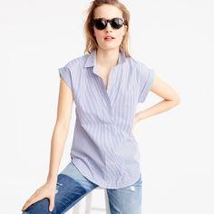 Petite short-sleeve popover in Atlantic blue shirting stripe | J.Crew - $78