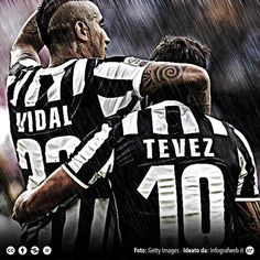 Juventus celebration: Vidal, Tevez