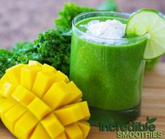 mango, coconut and lime. This green smoothie recipe provides a powerful dose of vitamins and minerals wrapped up in a delicious tropical package. Mangoes are a super-fruit rich in beta-carotene and high in dietary fiber. Mango Smoothie Recipes, Healthy Green Smoothies, Nutribullet Recipes, Kale Recipes, Juice Smoothie, Smoothie Drinks, Healthy Drinks, Healthy Recipes, Vegetarian Recipes