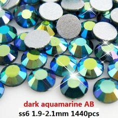 High shine non hot fix rhinestones  1440pcs ss6 1.9-2.1mm dark aquamarine AB flat back glue on rhinestone gems