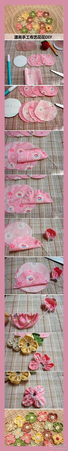 Fun.....easy! Fabric flowers.  Great for quilting, but for Bow Dazzling Volunteers, just add an alligator clip to attach to a headband.  We make these with 5 petals, add a little bit of quilt batting before sewing each, and call it the Puffy Petals Flower.