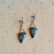 One of a kind rose cut deep slate blue-gray sapphire earrings in white rhodium plated sterling silver by Q Evon.