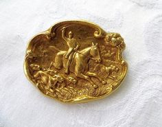 Vintage Equestrian Hunt Brooch Pin Polo by VintageVogueTreasure