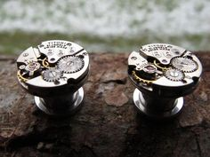 Vintage Antique SteamPunk Stainless Steel Plugs by isdylanhere
