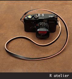 $36 | Handmade Leather Camera Strap | Classic Rangefinder Camera Strap | Black with Yellow Thread #handmadeleather #leathergifts #camerastrap #cameraaccessories
