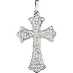 14K White Gold Diamond Cross Pendant  26.37X18.08 1/2 CTW #diamondcross #diamondcrosspendant #crosspendant #mystullerstyle page 549 str42206