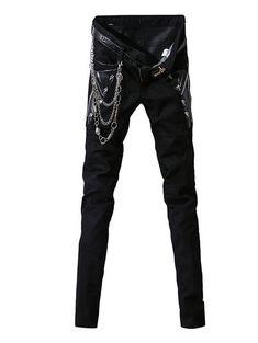 7313b8df394 Zipper Fly Skulls Embellished Narrow Feet Men s Pants - BLACK 32