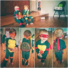 Toddler Teenaged Mutant Ninja Turtle costumes! I used this link as a guide for making the costumes.