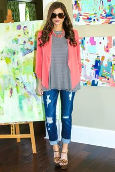The perfect pop of color! Must have, coral blazer! So very chic! Love, love, love!