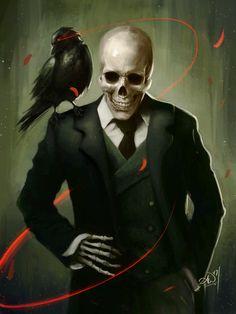 Skully Gentleman Art Print by Amy Wilkins - X-Small Dark Fantasy Art, Dark Art, Fantasy Character Design, Character Inspiration, Character Art, Christus Tattoo, Tableau Pop Art, Skull Artwork, Demon Artwork