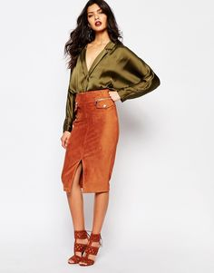 Image 1 - River Island - Jupe fourreau en suédine avec poches fantaisie / two years later and still in love with this outfit ! <3