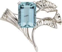 Aquamarine, Diamond, White Gold Brooch. ... Estate JewelryBrooches |
