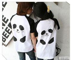 Matching panda shirts