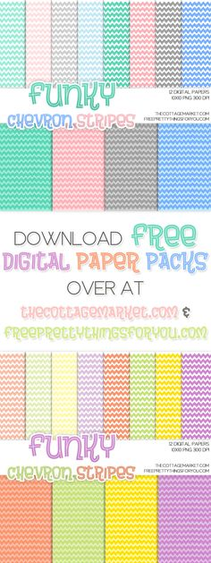 Funky Chevron Stripes Digital Paper Pack Part 1