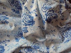 Vintage French Fabric Blue Roses Rosebuds by mamaisonfrancaise, €10.00