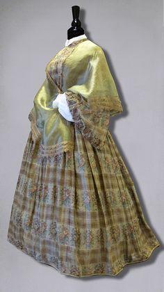 Wool and silk gauze dress, 1858. William Benton Museum of Art, UConn Today, via Flickr.