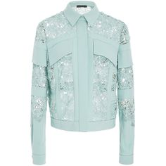 Elie Saab Macramé Denim Jacket (€2.290) ❤ liked on Polyvore featuring outerwear and jackets