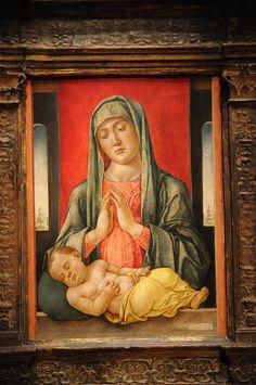Bartolommeo Vivarini | Madonna and Child, 1481, tempera and oil on wood panel, 23 x 17 cm, Fine Arts Museums of San Francisco.