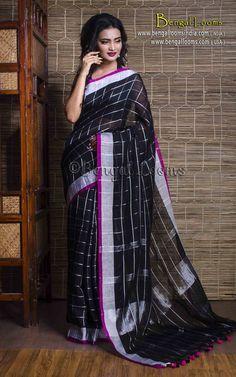 Pure Handloom Linen Checks Saree in Black and Silver