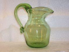Pilgrim Art Glass Pitcher Vase Hand Blown Pale Green Handle Trapped Bubbles  #Pilgrim