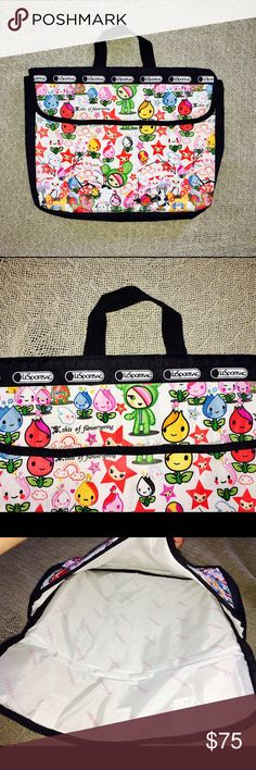 """TokiDoki x Le Sport Sac Brand  Laptop Bag  Brand-new without tags. TokiDoki x Le Sport Sac Laptop Bag in perfect condition. Adorable anime-like characters printed all over- every Le Sport Sac bag is uniquely printed and a one-of-a-kind. Dimensions: 13"""" x 10.5"""" w/ 2"""" width Bags Laptop Bags"""