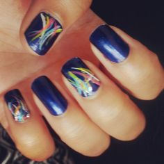 Coral in the deep blue sea. Base coat is a dark blue by wet n wild Nail art colors pink , yellow, teal, white and silver glitter . gently stroke lines in different directions (free style)