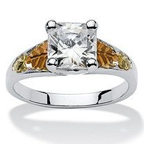 2.12 TCW Princess-Cut Cubic Zirconia 12k Black Hills Gold Sterling Silver Leaf Motif Ring
