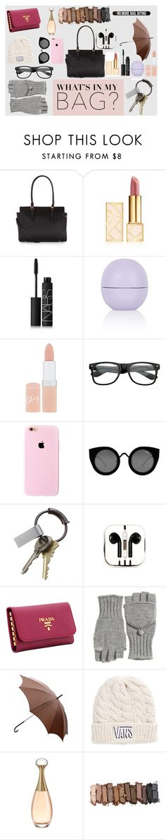 """""""what's in my bag contest"""" by showingmystyle ❤ liked on Polyvore featuring Accessorize, Tory Burch, NARS Cosmetics, Topshop, Rimmel, Quay, CB2, PhunkeeTree, Prada and Calypso St. Barth"""