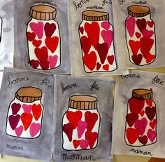 "Un ""pot"" d'amour et d'eau fraiche… (Zaubette) – Valentinstag Saint Valentine, Valentine Day Crafts, Diy For Kids, Crafts For Kids, 2nd Grade Art, Inspirational Wall Art, Mothers Day Crafts, Mother And Father, Teaching Art"