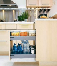 67 Cool Pull Out Kitchen Drawers And Shelves - Shelterness Pull Out Kitchen Cabinet, Pantry Cupboard, Kitchen Drawers, Kitchen Organisation, Kitchen Storage Solutions, Organized Kitchen, Wine Cabinets, Kitchen Cabinets, Kitchen Pantries