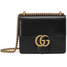 Gucci GG Marmont Small Leather Shoulder Bag (118,885 INR) ❤ liked on Polyvore featuring bags, handbags, shoulder bags, black, gucci, leather shoulder handbags, flap handbags, chain strap purse and real leather handbags