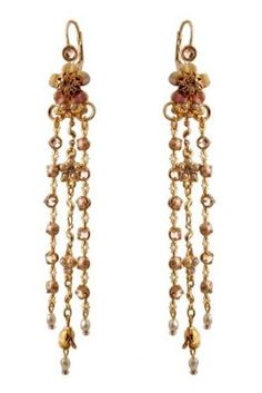 Michal Negrin Gold Coated Earrings Decorated With A Central Flower Element Decorated With Swarovski Crystals And Falling Chains With Glass Beads And Swarovski Crystals: Michal Negrin: Jewelry