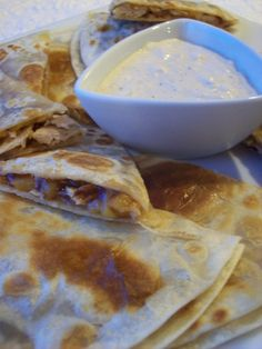 Great for appetizers or a main dish. I hate condiments but I totally love this dip! And combined with the quesadillas, it's perfection. If you don't have a smoker, just saute your onion until soft and add an extra 1/4 teaspoon liquid smoke. I like to make this with leftover roasted chicken.