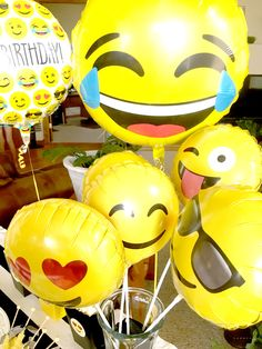 Emoji Themed Birthday Party Balloons via Pretty My Party