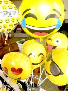 Emoji Themed Birthday Party Balloons via Pretty My Party