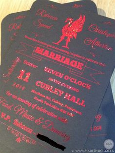 Bespoke Liverpool football club / liverbird themed wedding stationery made using black card and glitter hot foiling for the text - the design and print by www.madebyhol.co.uk