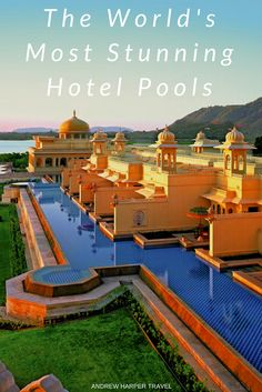 INDIA • Set on the banks of Udaipur's exquisite Lake Pichola, the pool at The Oberoi Udaivilas is ringed by distinctive black-and-white steps evoking a traditional Indian bathing ghat. Swimmers can gaze across the lake to the famous Lake Palace and to the massive golden ramparts of the 16th-century City Palace, still home to Udaipur's Maharana. Photo © Martin Harvey