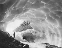 Mountaineer in an Ice Cave of Paradise Glacier, Mount Rainier National Park, Washington, 1925, a 20x200 Vintage Edition